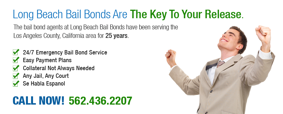 Long Beach Bail Bonds Services has been in business for over 25 years and our bondsmen have bailed out thousands of people. We are available 24 hours a day, 7 days a week and offer free consultations to discuss your available Long Beach bail bonds services options. We accept all major credit cards and also offer payment plans that break down into just three easy payments.